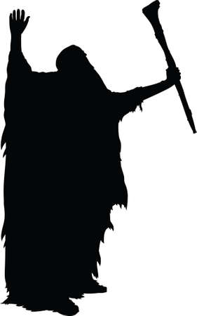 A silhouette of an old wizard, raising his arms and using his power. Ilustração
