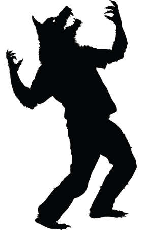cursed: A silhouette of a werewolf howling. Illustration