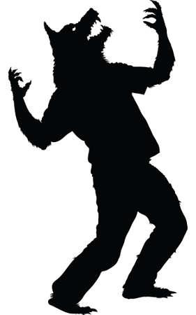 Een silhouet van een weerwolf huilen.