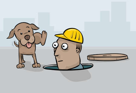 legs: A cartoon dog lifting his leg to pee on the face of a worker.