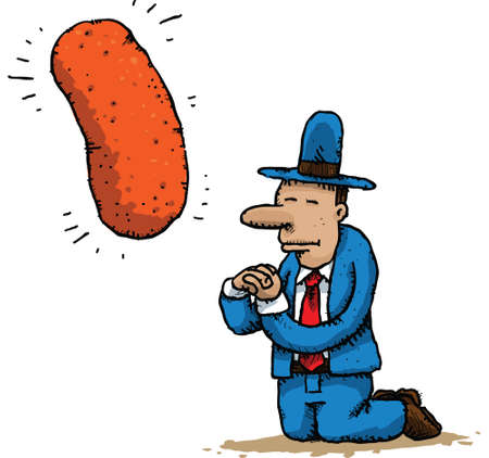 A cartoon man kneels and prays to the cheese snack he worships. Illustration