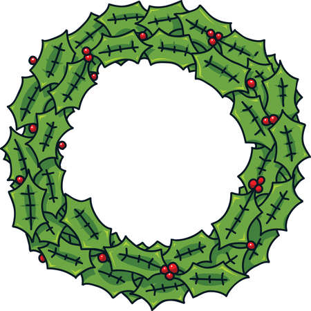 festive: A festive, winter cartoon wreath with berries.