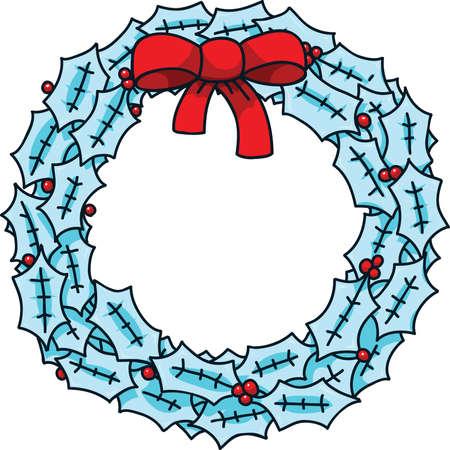 festive: A festive, winter cartoon wreath with a bow. Illustration