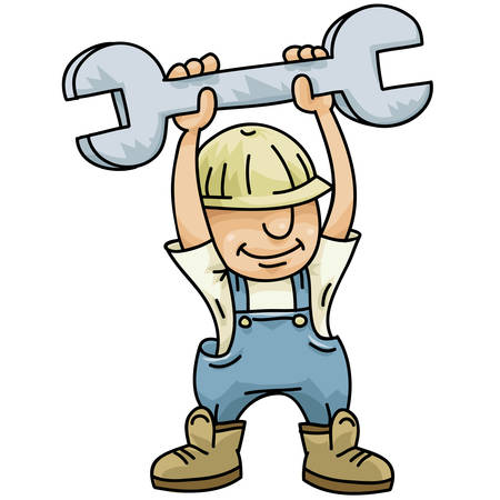 A handy, cartoon construction worker holds up a large wrench.