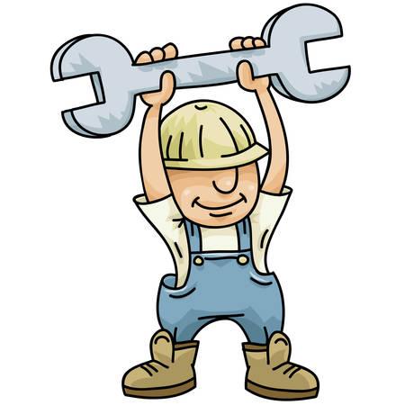 handy man: Un operaio edile a portata di mano, cartone animato detiene una grande chiave.