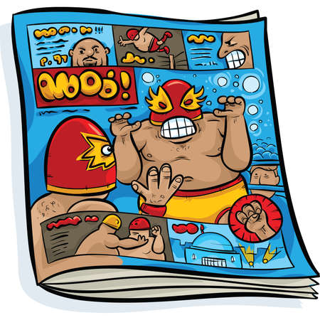A cartoon of a Mexican wrestling magazine. Vector
