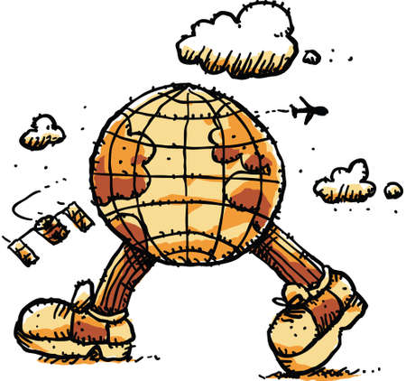 strut: A cartoon globe out for an energetic walk.
