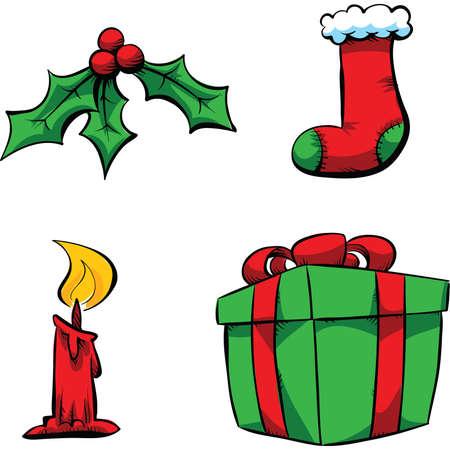 A set of cartoon Christmas decorative objects.