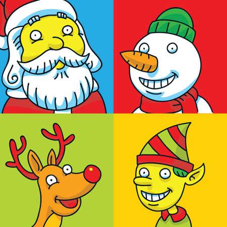 A group of four cartoon Christmas characters including Santa, a snowman, an elf and Rudolph.