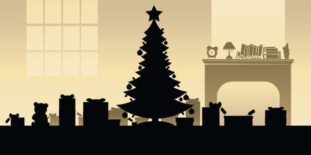 cartoon fireplace: Cartoon silhouette of a tree and presents on Christmas morning.