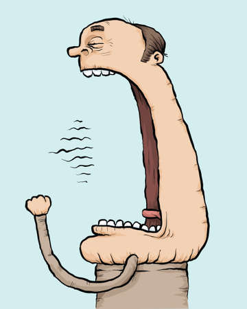 sleepy man: A cartoon man yawns with a very large mouth. Illustration