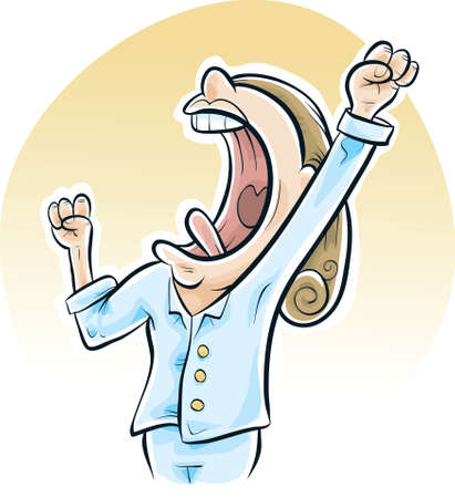 yawn: A cartoon woman has a big yawn in the morning as she wakes up.