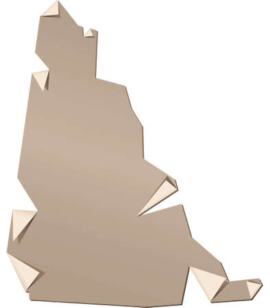 Illustration of a paper Yukon map, torn and peeling. Vector