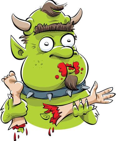 A hungry, cartoon troll feasts on human body parts. Ilustração
