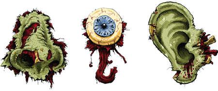 A collection of zombie body parts. Ilustração