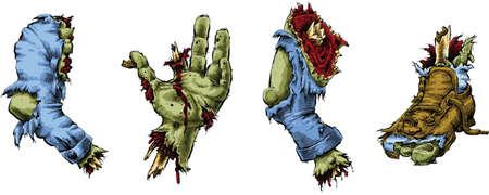 A set of cartoon zombie body parts.