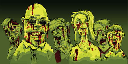 A group of gory, bloody zombies on the prowl.
