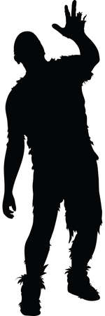 A rotting silhouette zombie reaches and staggers. Vector