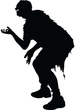 begging: A zombie silhouette in a begging for brains pose. Illustration