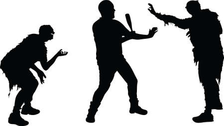 A silhouette of a man defending himself from two attacking zombies. Vector