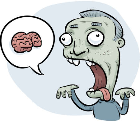 A cartoon zombie man asking for brains to eat.