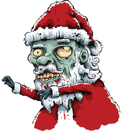 Cartoon zombie Santa with blood on his white beard. Vector