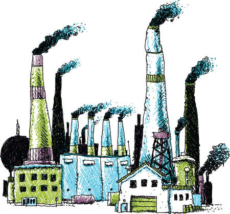 air pollution cartoon: A cluster of cartoon factories with large smokestacks.