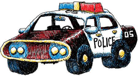 A cartoon illustration of a retro-styled police car. Vettoriali