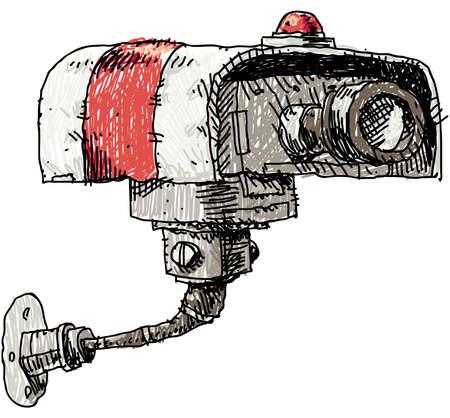 セキュリティ カメラの漫画イラスト。  イラスト・ベクター素材