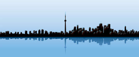 toronto: Skyline silhouette of the city of Toronto, Ontario, Canada.