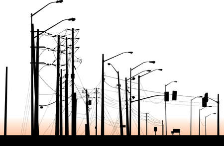 A silhouette of a messy cluster of streetlights and poles.