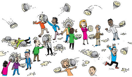 A group of cartoon people fight with cream pies.