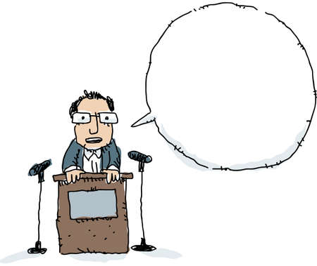 A cartoon man speaking at a podium with a speech bubble.
