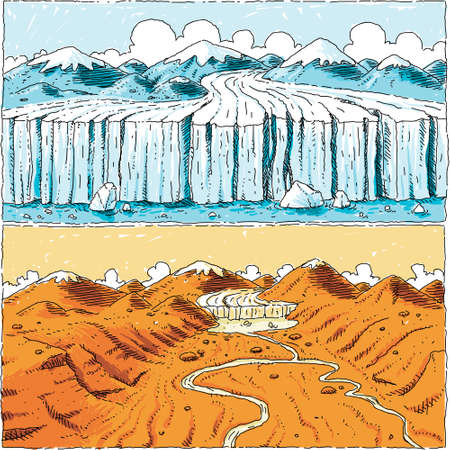mud and snow: A cartoon showing a glacier receding over time because of climate change. Illustration