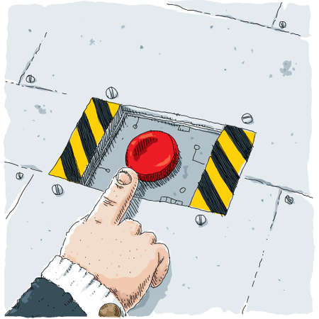 A cartoon hand reaches out to push a large, red button.