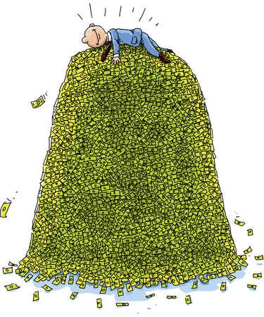 cash money: A happy, cartoon businessman lies on top of a massive pile of money. Illustration
