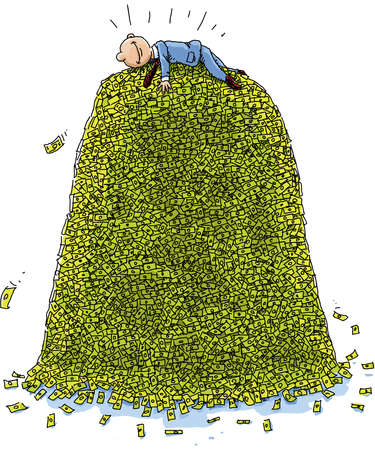 A happy, cartoon businessman lies on top of a massive pile of money. Illustration