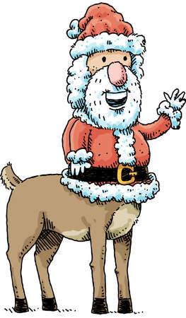 mythical festive: Cartoon Santa Claus with a centaur body gives a friendly wave.