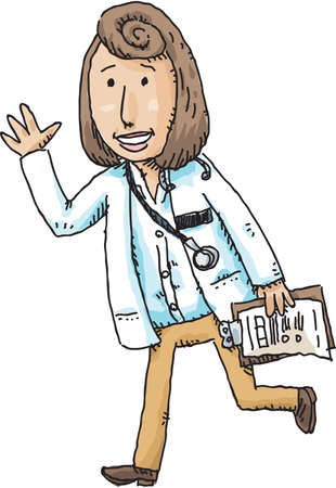 haste: A serious woman doctor walking while holding a clipboard. Illustration