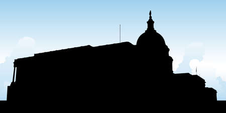 washington dc: Silhouette of the United States Capitol Building in Washington, D.C., USA. Illustration