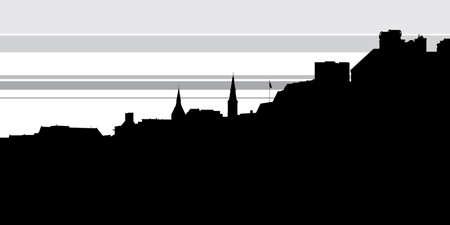 Skyline silhouette of the neighbourhood of Georgetown in Washington, D.C., USA. Illustration