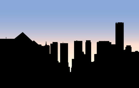 uptown: Skyline silhouette of the uptown Yonge and Bloor intersection of the city of Toronto, Ontario, Canada, viewed from the north. Illustration