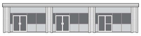 plaza: Vector outline of the facade of a suburban retail plaza featuring three storefronts.