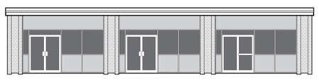 escaparates de tiendas: Vector silueta de la fachada de una plaza minorista suburbana con tres escaparates.