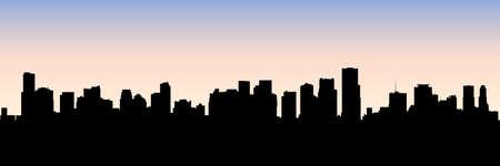 miami florida: Skyline silhouette of the city of Miami, Florida, USA. Illustration