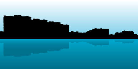 marco: Skyline silhouette of waterfront condominiums on Marco Island, Florida, USA.