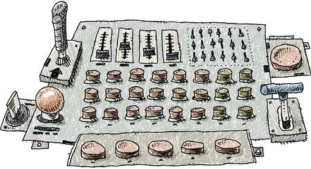 A cartoon control panel with buttons, level knobs and joysticks controls.