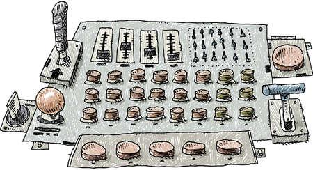control panel: Un pannello di controllo del fumetto con pulsanti, manopole di livello e controlli joystick.
