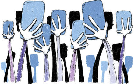 cellphone in hand: A cluster of cartoon hands holding mobile smartphones. Illustration