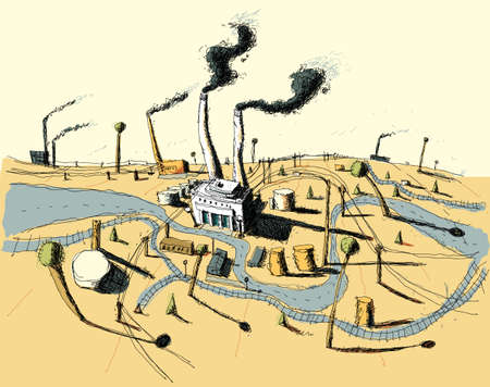 smokestack: Illustration of an urban industrial zone with factories and smokestacks. Illustration